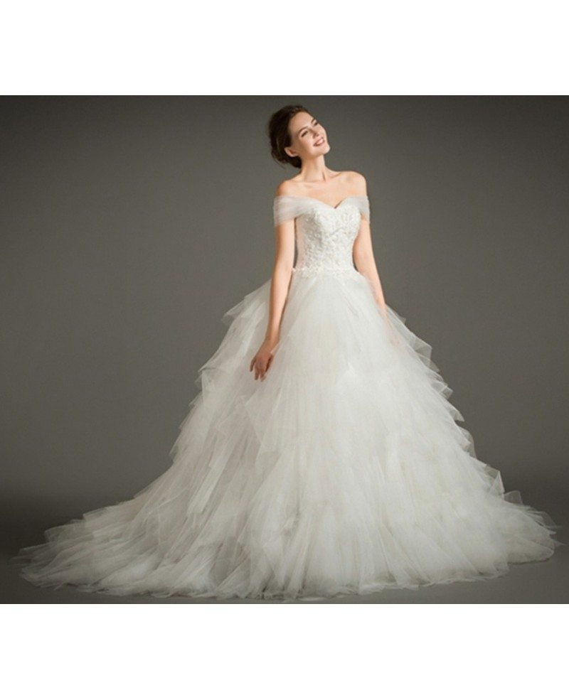 Dreamy ball gown off the shoulder chapel train tulle for Wedding dresses chapel train