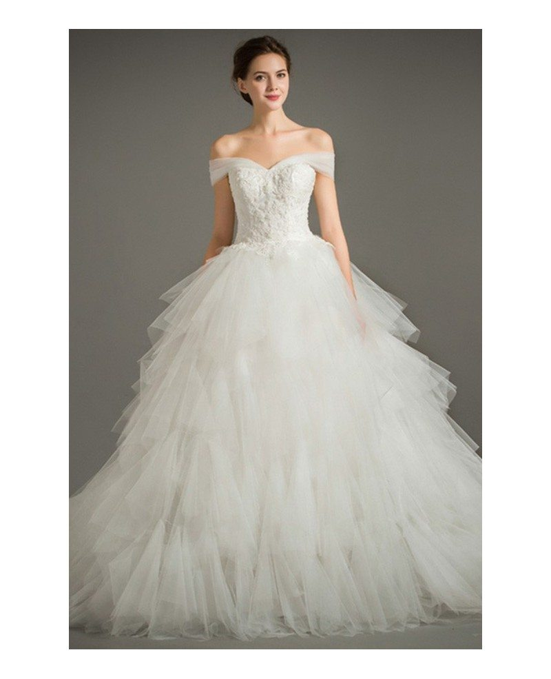 Dreamy ball gown off the shoulder chapel train tulle for Cascading ruffles wedding dress