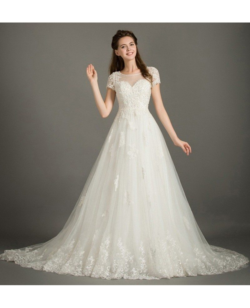 Modest ball gown scoop neck court train lace tulle wedding for Tulle wedding dress with sleeves