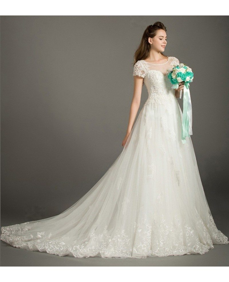 Modest Ball Gown Scoop Neck Court Train Lace Tulle Wedding