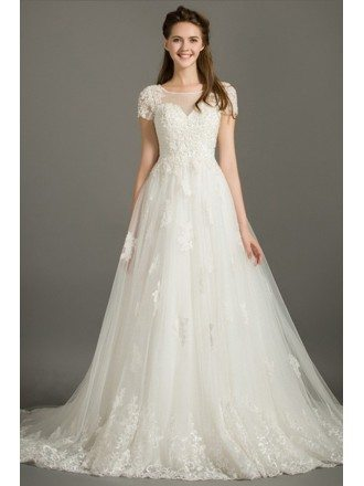 Modest Ball-gown Scoop Neck Court Train Lace Tulle Wedding Dress With Short Sleeves