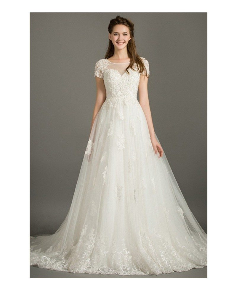 Modest Ball-gown Scoop Neck Court Train Lace Tulle Wedding Dress ...