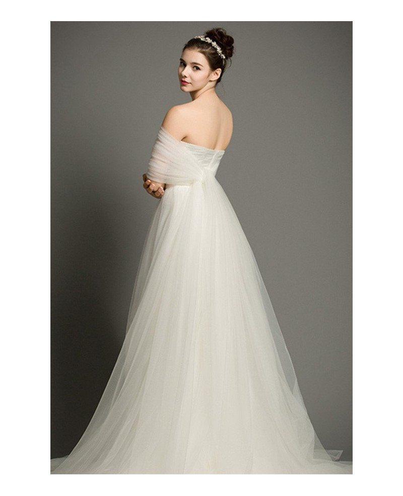 Simple a line sweetheart court train tulle wedding dress Wedding dress a line sweetheart