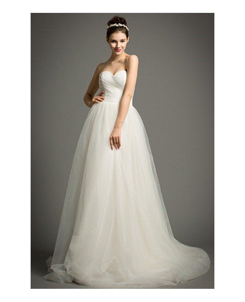 Simple A Line Wedding Dress: Simple A-Line Sweetheart Court Train Tulle Wedding Dress