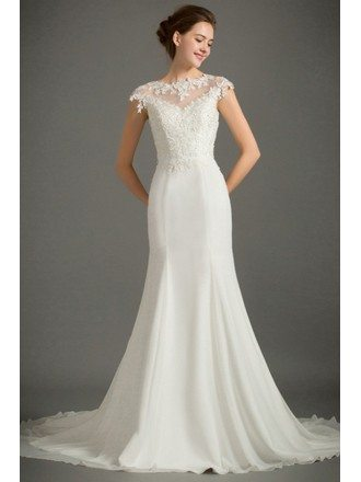 Feminine Mermaid High Neck Sweep Train Satin Wedding Dress With Cap Sleeve