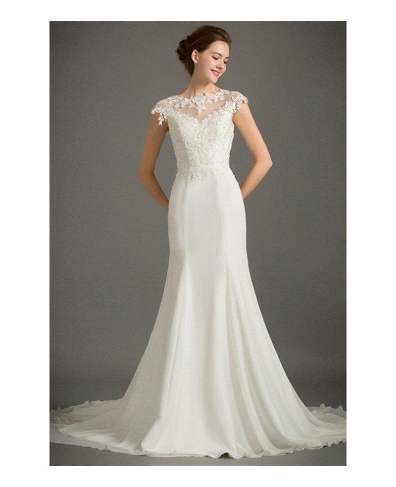 Feminine mermaid high neck sweep train satin wedding dress for Sweep train wedding dress