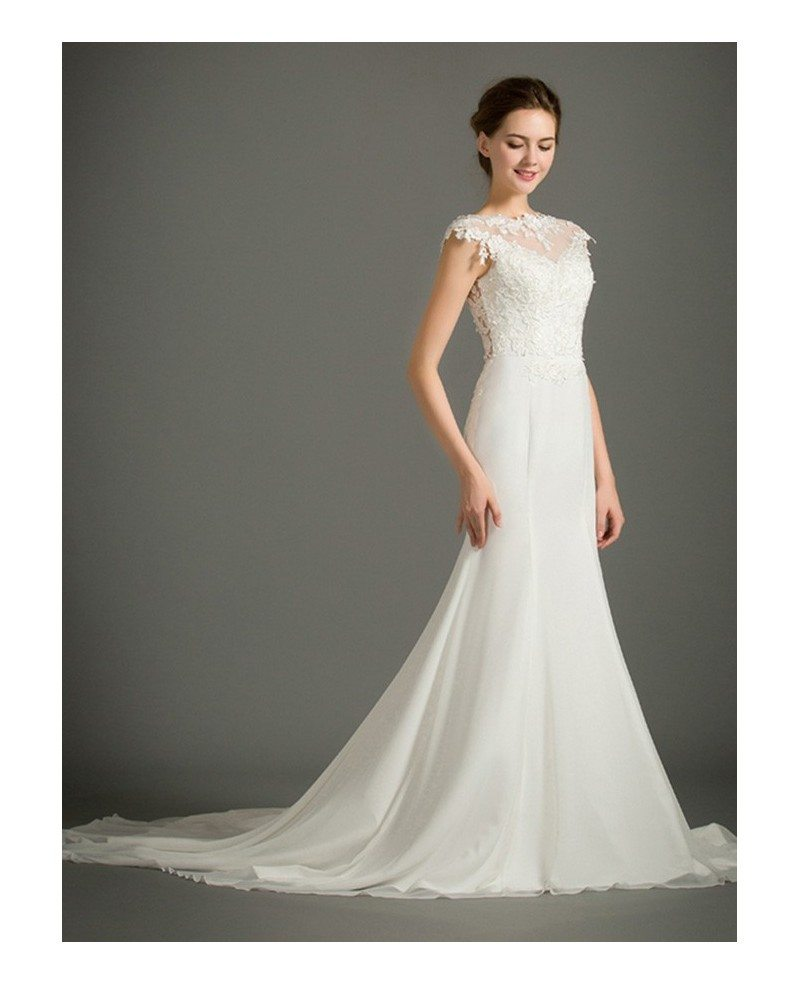 Feminine Mermaid High Neck Sweep Train Satin Wedding Dress