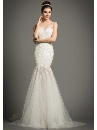 Sexy Mermaid Sweetheart Sweep Train Tulle Wedding Dress With Appliques Lace