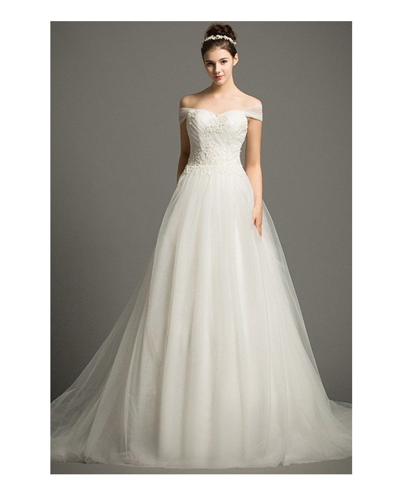 Dreamy ball gown off the shoulder court train tulle for Off the shoulder ball gown wedding dress
