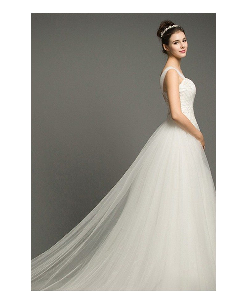 Dreamy Ball-gown Off-the-Shoulder Court Train Tulle
