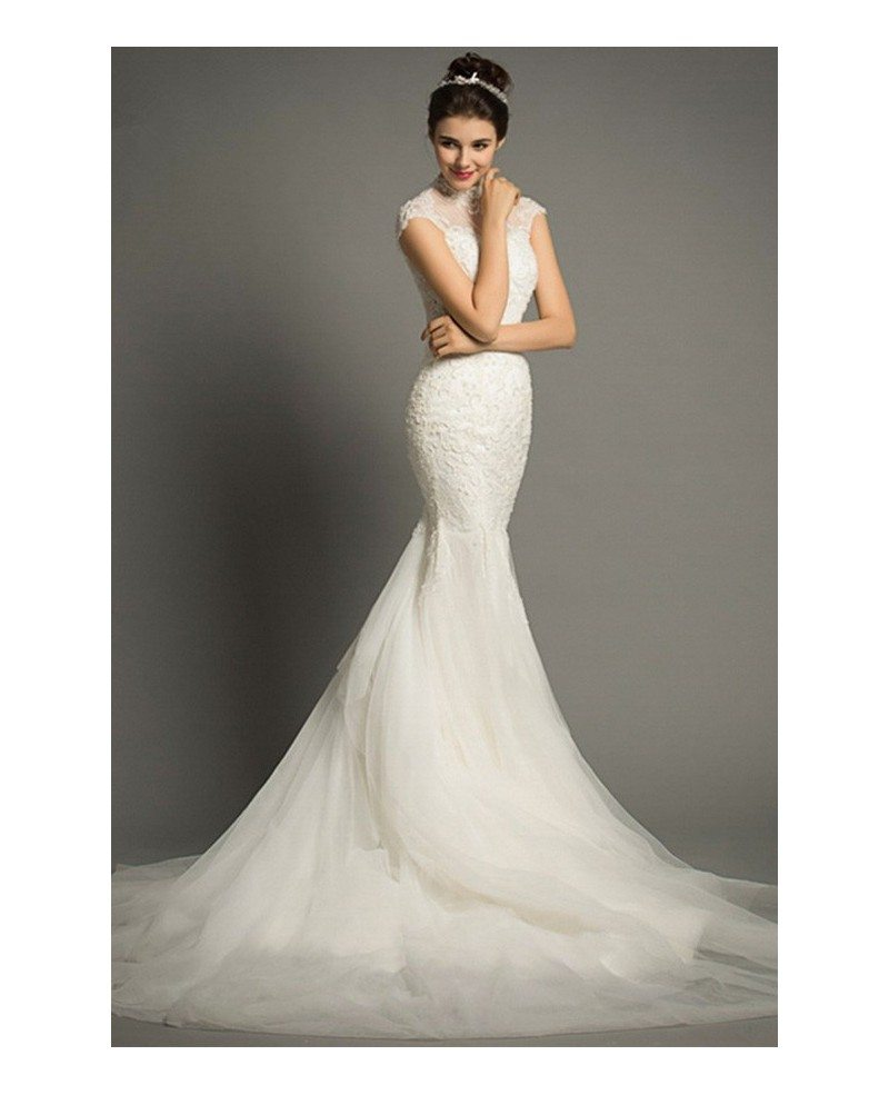Elegant mermaid high neck court train lace tulle wedding for Classy lace wedding dresses