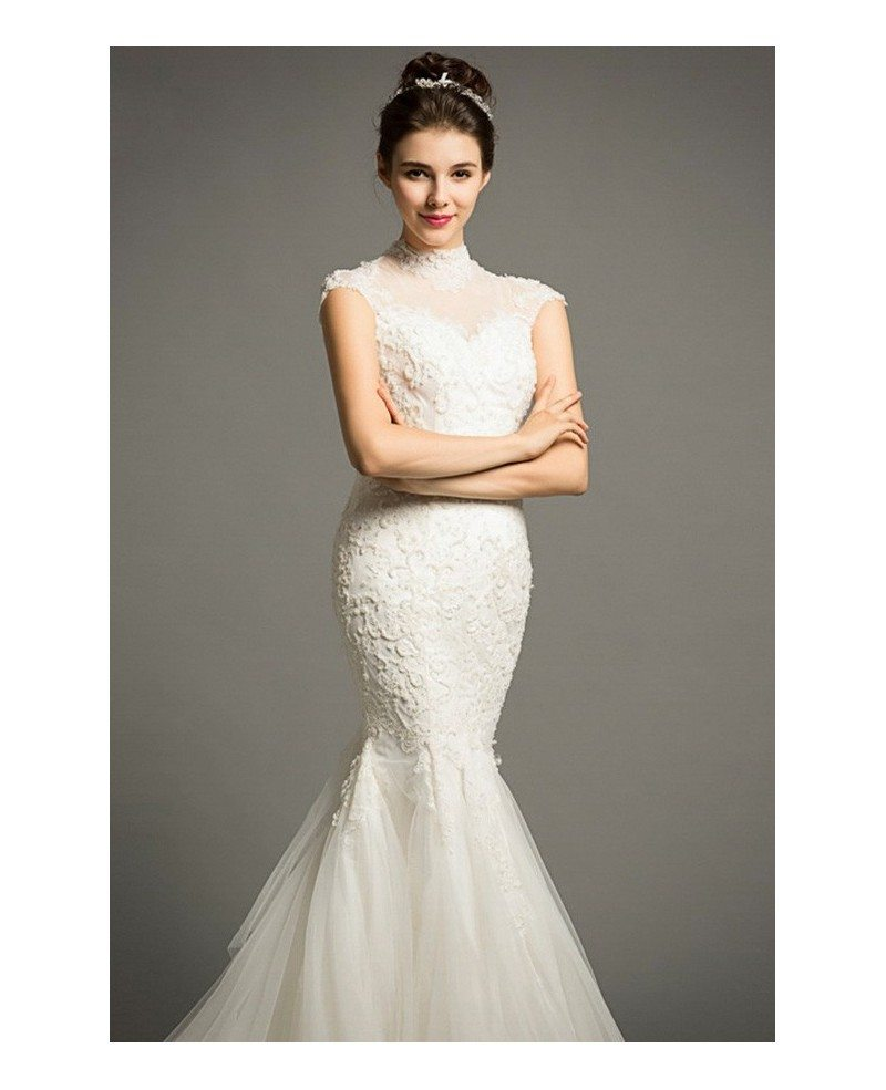 Elegant Mermaid High Neck Court Train Lace Tulle Wedding Dress With Cap Sleeve TZ037 390