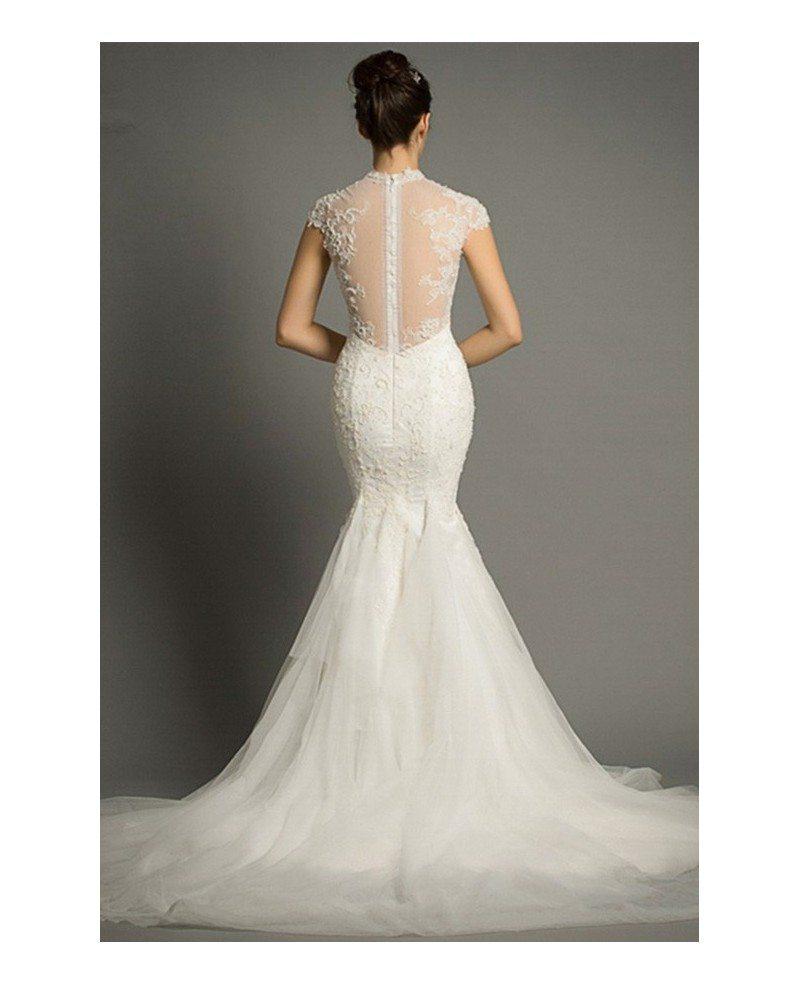 Elegant mermaid high neck court train lace tulle wedding for High neck wedding dresses