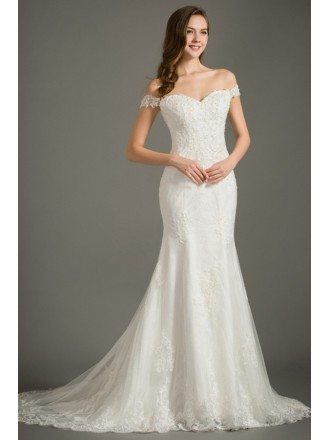 Feminine Mermaid Off-the-Shoulder Sweep Train Lace Tulle Wedding Dress
