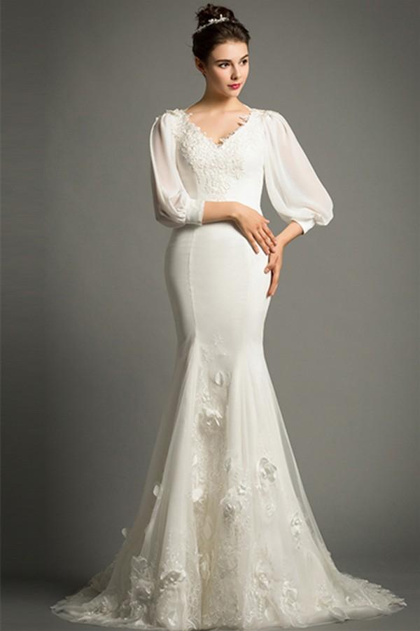 Elegant mermaid v neck sweep train satin wedding dress for 300 dollar wedding dress