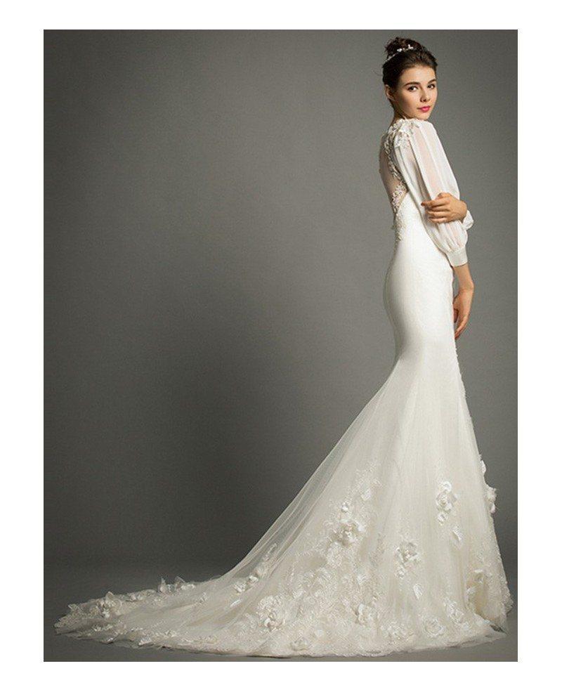 Elegant mermaid v neck sweep train satin wedding dress for Mermaid v neck wedding dress