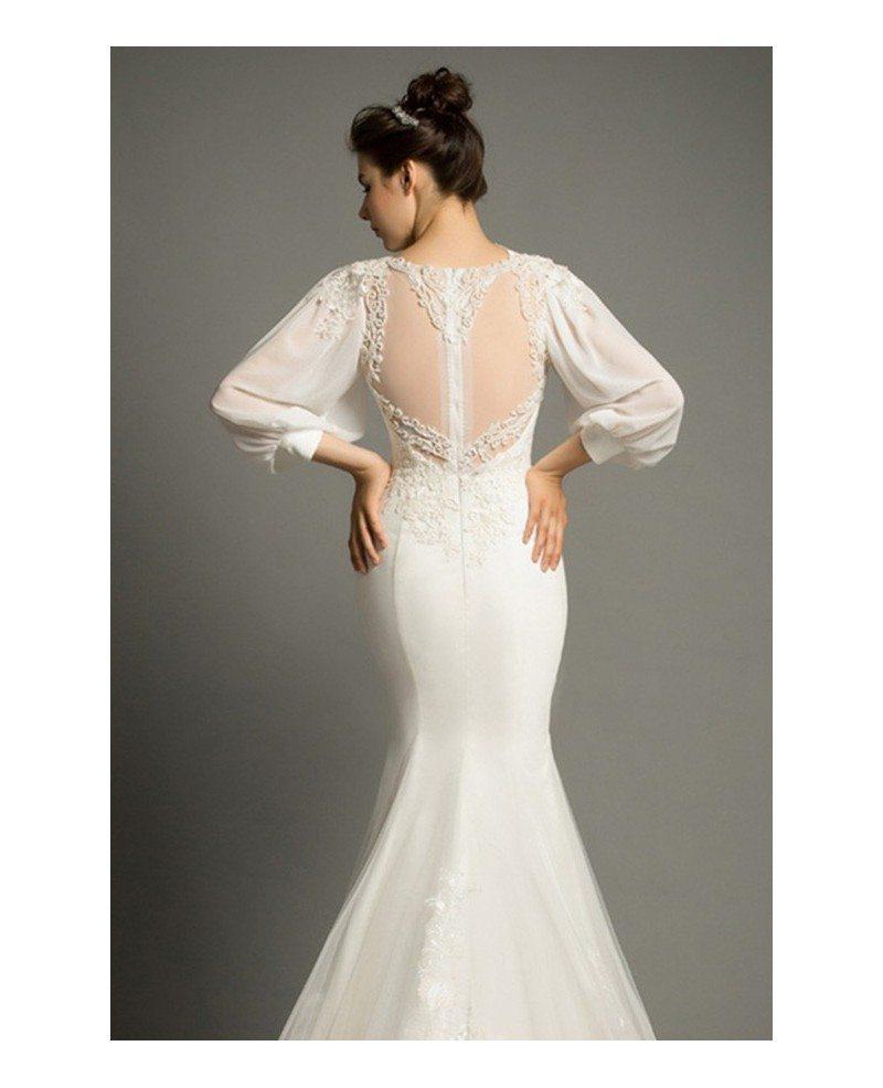 Elegant Silk Wedding Dresses With Sleeves: Elegant Mermaid V-neck Sweep Train Satin Wedding Dress
