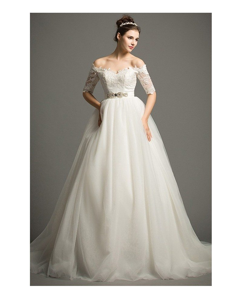 gown off the shoulder chapel train tulle wedding dress with appliques