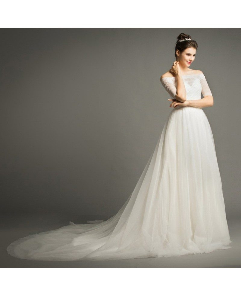 Dreamy Ball-gown Off-the-Shoulder Chapel Train Tulle