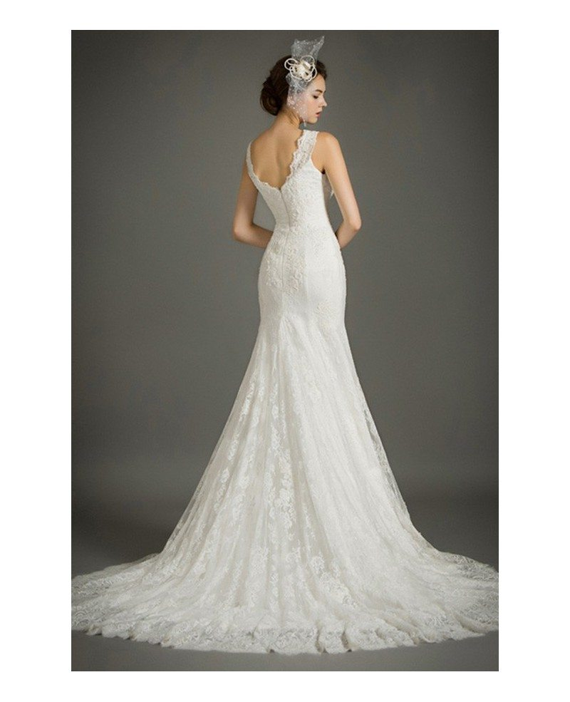 Feminine mermaid v neck court train lace wedding dress for Mermaid v neck wedding dress