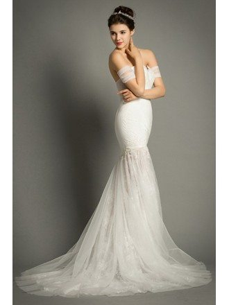Sexy Mermaid Off-the-shoulder Sweep Train Tulle Wedding Dress With Appliques Lace