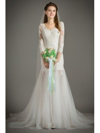 Special Mermaid Scoop Neck Sweep Train Lace Tulle Wedding Dress With Half Sleeves