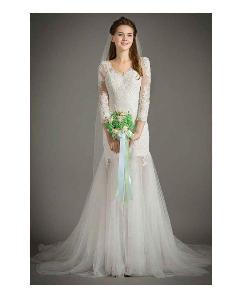 Special mermaid scoop neck sweep train lace tulle wedding for Wedding dresses with half sleeves