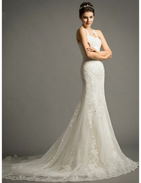 Sexy Mermaid Halter Court Train Tulle Wedding Dress With Appliques Lace TZ04