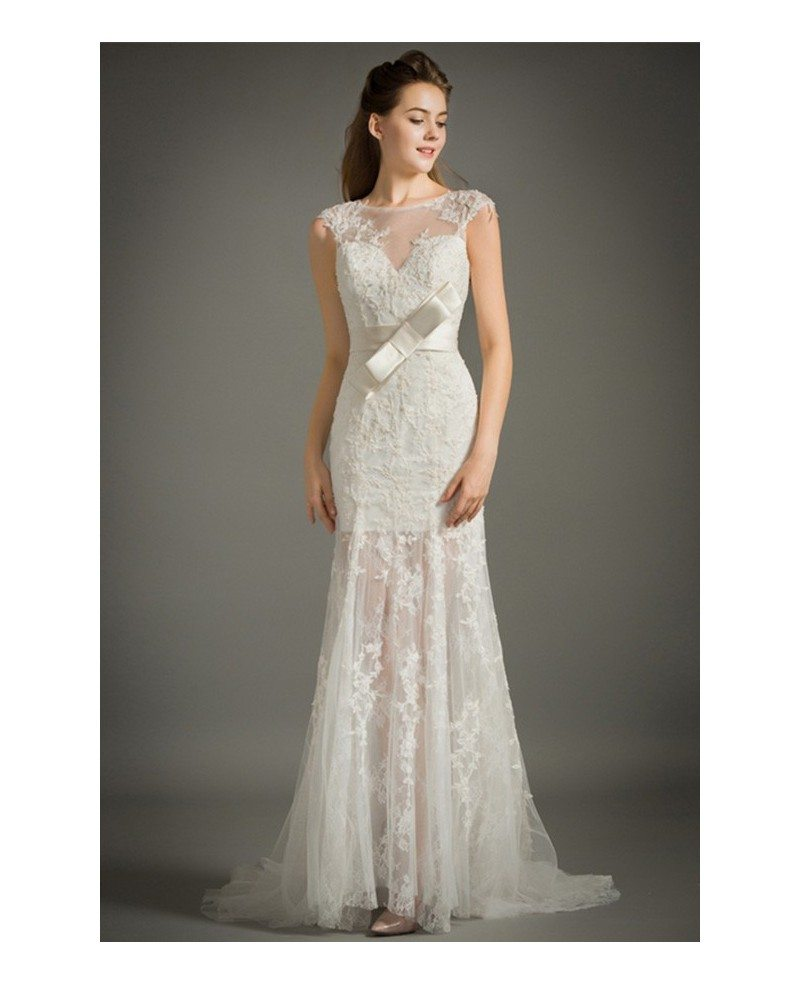 Feminine mermaid high neck sweep train lace tulle wedding for Tulle lace wedding dress