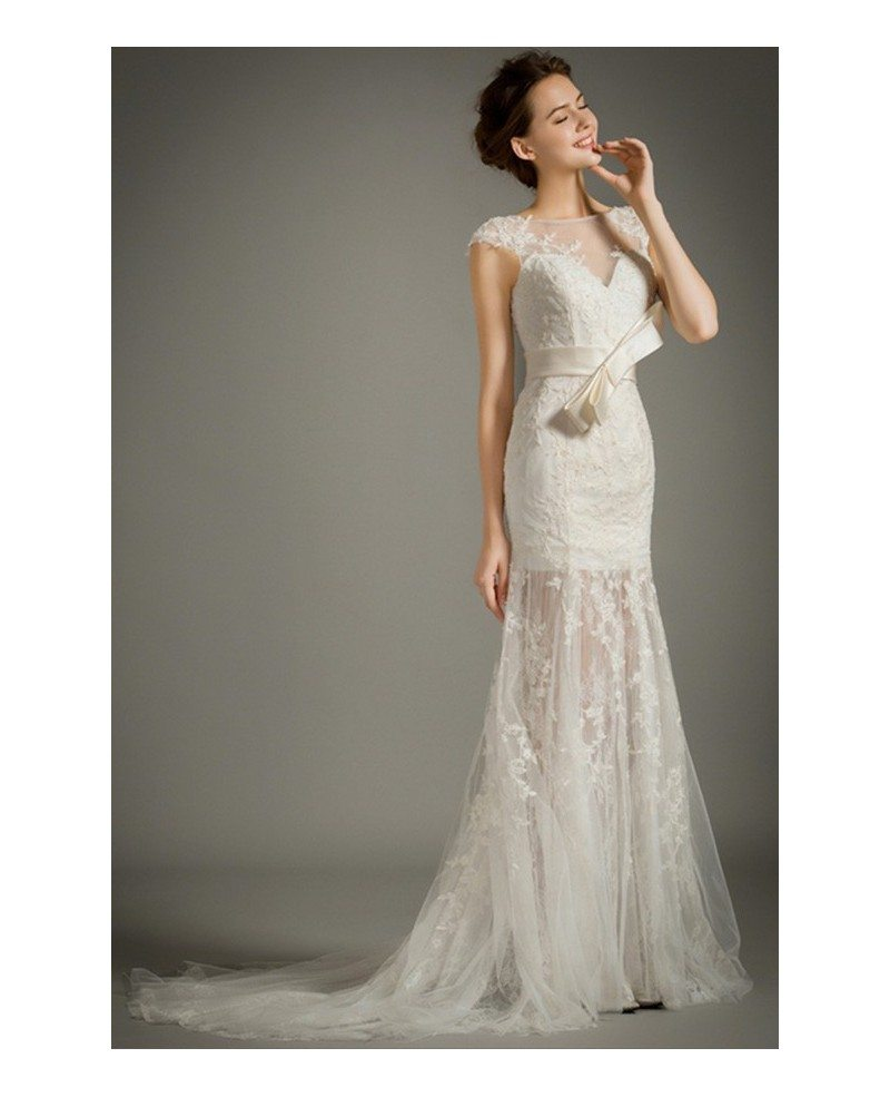 Feminine mermaid high neck sweep train lace tulle wedding for Mermaid wedding dress with train