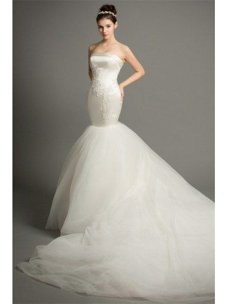 Dreamy Mermaid Strapless Cathedral Train Satin Tulle Wedding Dress