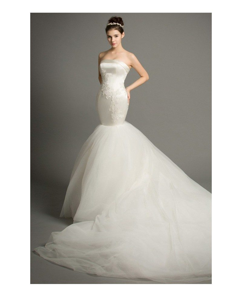 Dreamy mermaid strapless cathedral train satin tulle for Tulle halter wedding dress