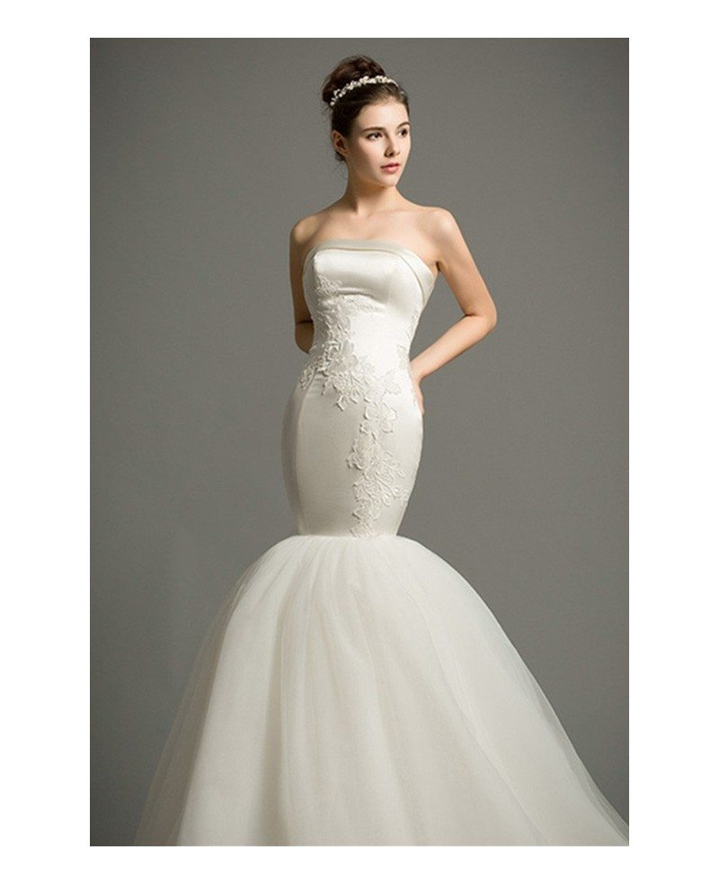 Strapless Mermaid Wedding Gown: Dreamy Mermaid Strapless Cathedral Train Satin Tulle
