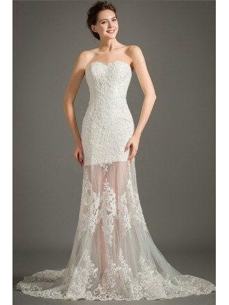 Special Mermaid Sweetheart Sweep Train Lace Tulle Wedding Dress