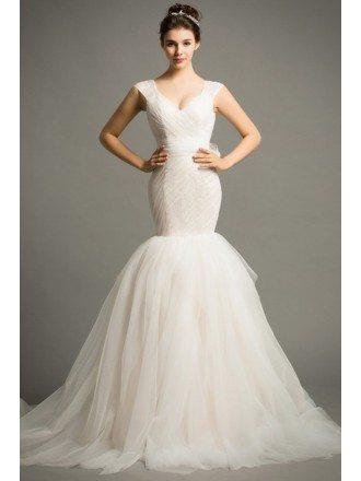 Modern Mermaid V Neck Court Train Tulle Wedding Dress With Ruffle