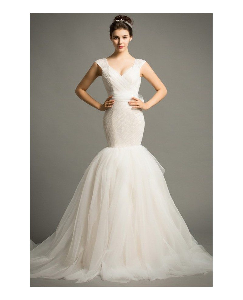 Modern V Neck Wedding Dress : Modern mermaid v neck court train tulle wedding dress with