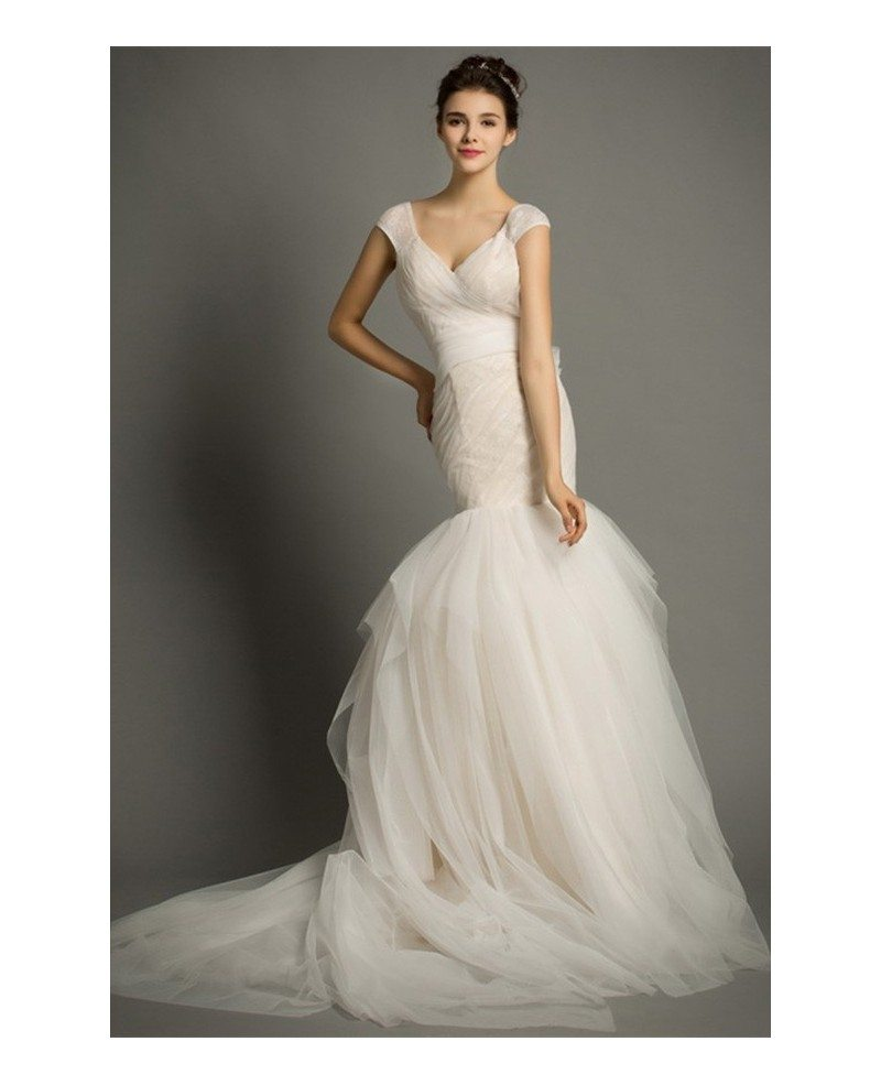 Modern mermaid v neck court train tulle wedding dress with for Mermaid wedding dress with train