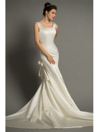 Modern Mermaid Scoop Neck Sweep Train Satin Wedding Dress With Open Back