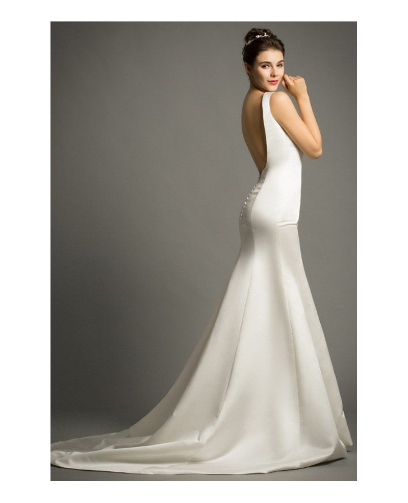 Modern mermaid scoop neck sweep train satin wedding dress for Wedding dresses with the back open