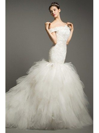 Luxury Mermaid Off-the-shoulder Cathedral Train Tulle Wedding Dress With Cascading Ruffle