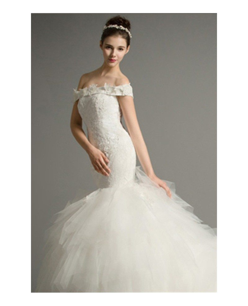 Luxury mermaid off the shoulder cathedral train tulle for Mermaid wedding dress with train