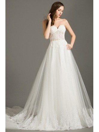 Special Ball-gown Sweetheart Chapel Train Tulle Wedding Dress With Lace
