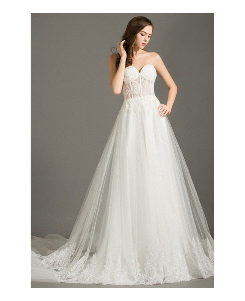 Lace Sweetheart Wedding Dress: Special Ball-gown Sweetheart Chapel Train Tulle Wedding