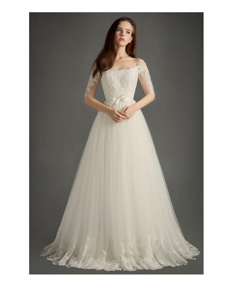 Elegant off the shoulder floor length tulle wedding dress for Lace mid length wedding dresses