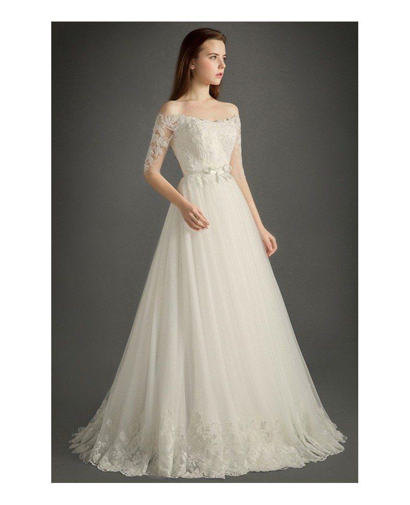 Elegant off the shoulder floor length tulle wedding dress for Off the shoulder tulle wedding dress