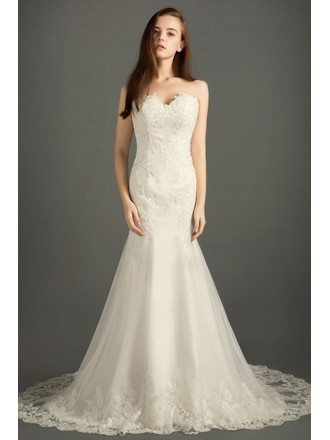 Classic Mermaid Sweetheart Sweep Train Tulle Wedding Dress With Appliques Lace