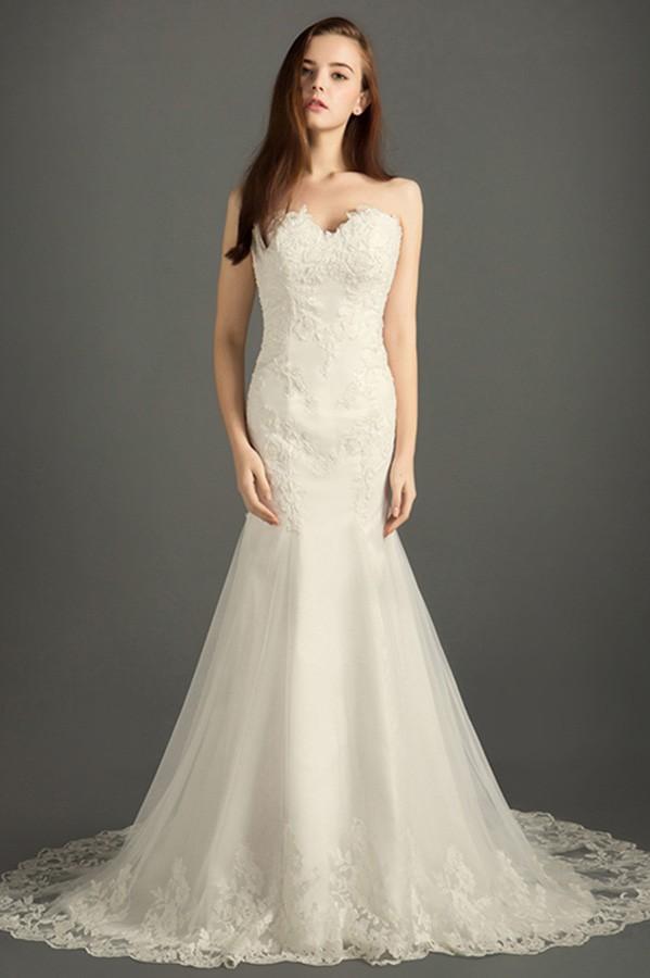 Classic mermaid sweetheart sweep train tulle wedding dress for 300 dollar wedding dress