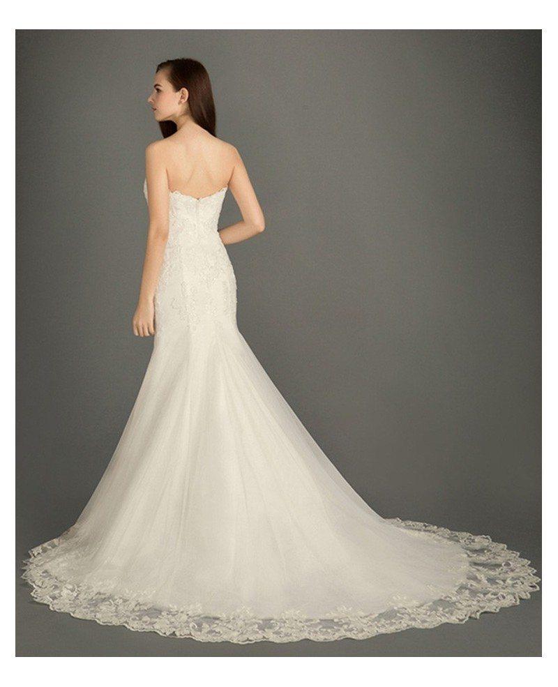 Classic mermaid sweetheart sweep train tulle wedding dress for Sweep train wedding dress