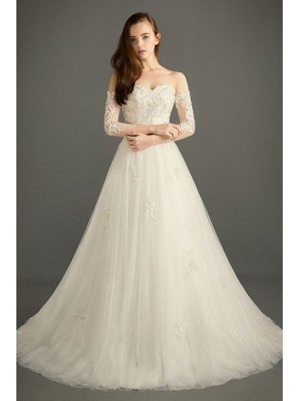 Dreamy Ball-gown Sweetheart Court Train Tulle Wedding Dress With Beading