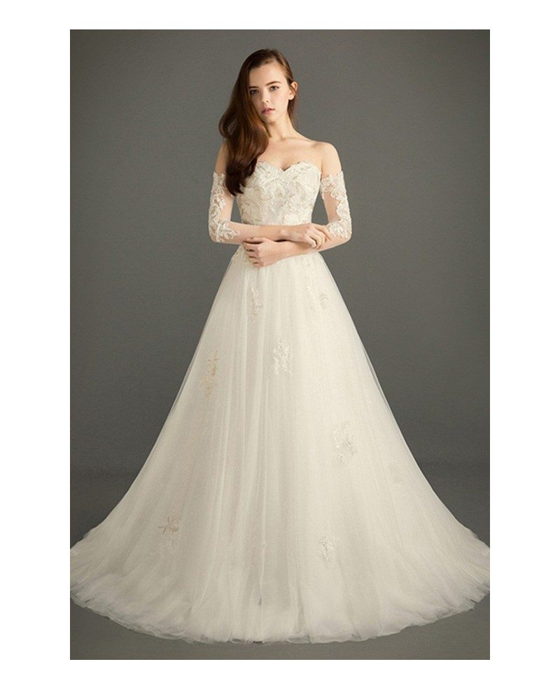 Dreamy ball gown sweetheart court train tulle wedding for Beading for wedding dress